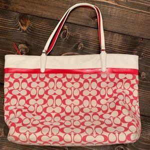 Coach Large Tote Signature Coral & Cream Bag